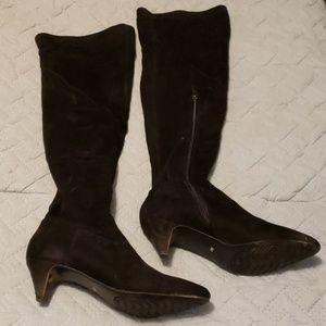 Black velvet over the knee kitten heel boots